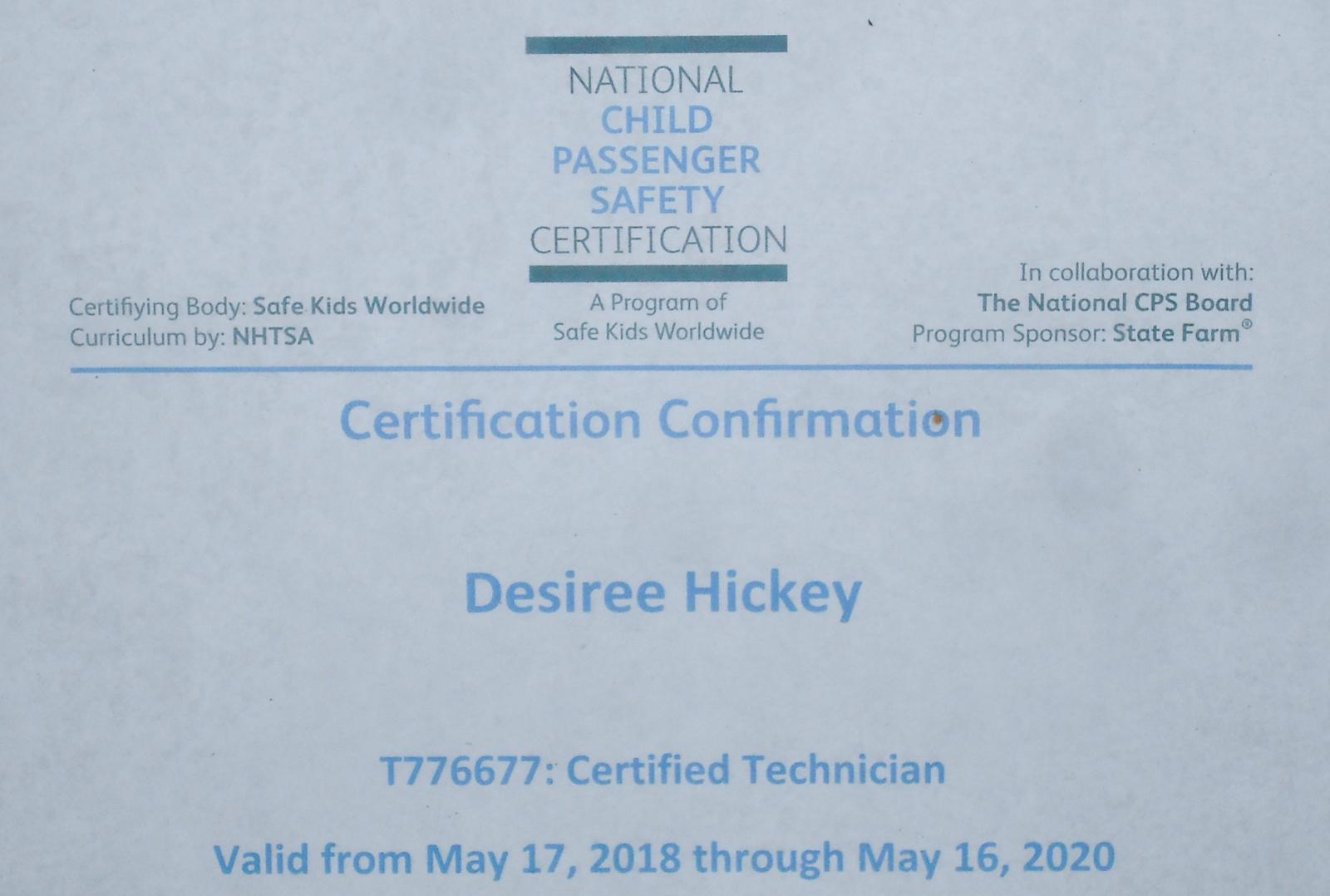 car seat certification columbus ohio